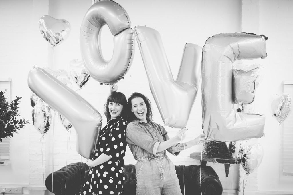 Black and white Selina and Vicki LOVE balloons