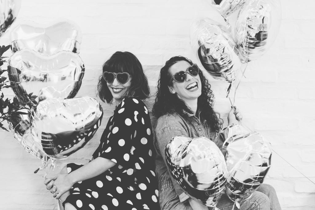 Selina and Vicki B&W balloons